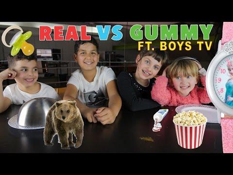 Видео, LES BOYS TV vs STUDIO BUBBLE TEA  REAL vs GUMMY FOOD CHALLENGE  au GuLive