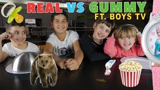 LES BOYS TV vs STUDIO BUBBLE TEA • REAL vs GUMMY FOOD CHALLENGE !! au Gu