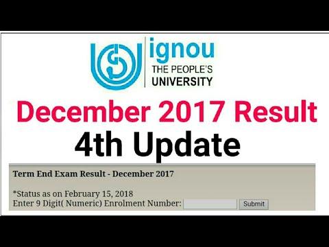 IGNOU DECEMBER RESULT 2017 4TH UPDATE