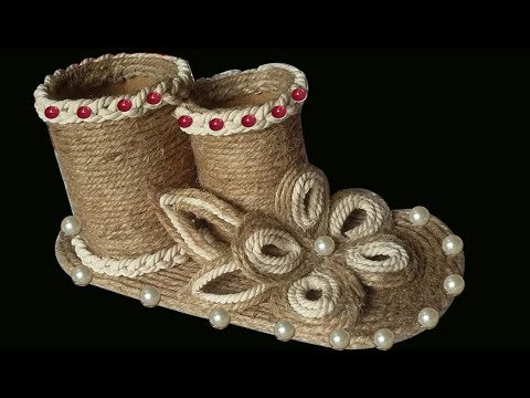 DIY-Pen Holder Showpiece With Jute Rope || Stationery Desk Organizer With Jute Rope Craft Idea