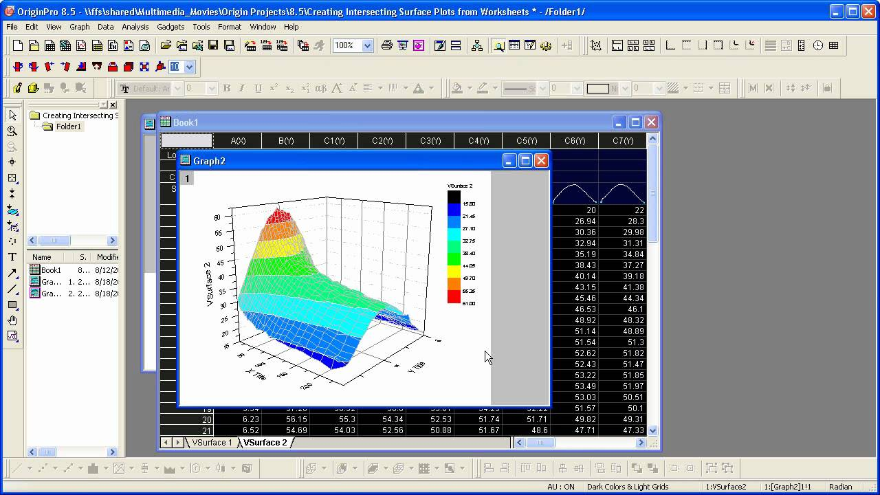 Graphing Origin 8 5 Virtual Matrix And Intersecting