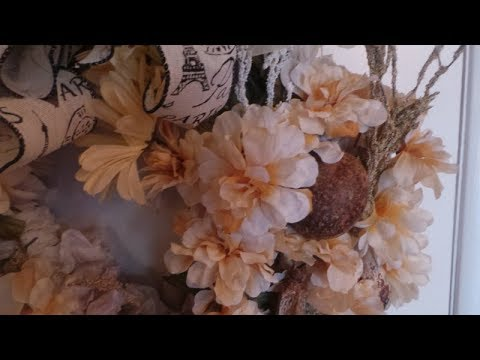 LUSH DOLLAR TREE SHABBY CHIC /FARM HOUSE/ FALL WREATH /DIY