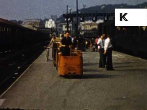 1950s 1960s France, Nice Train Station, Unseen Colour Home Movies