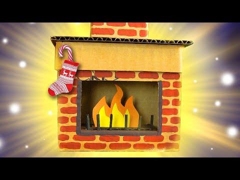 DIY Cardboard Fireplace | Christmas Craft Ideas for Kids on BoxYourself