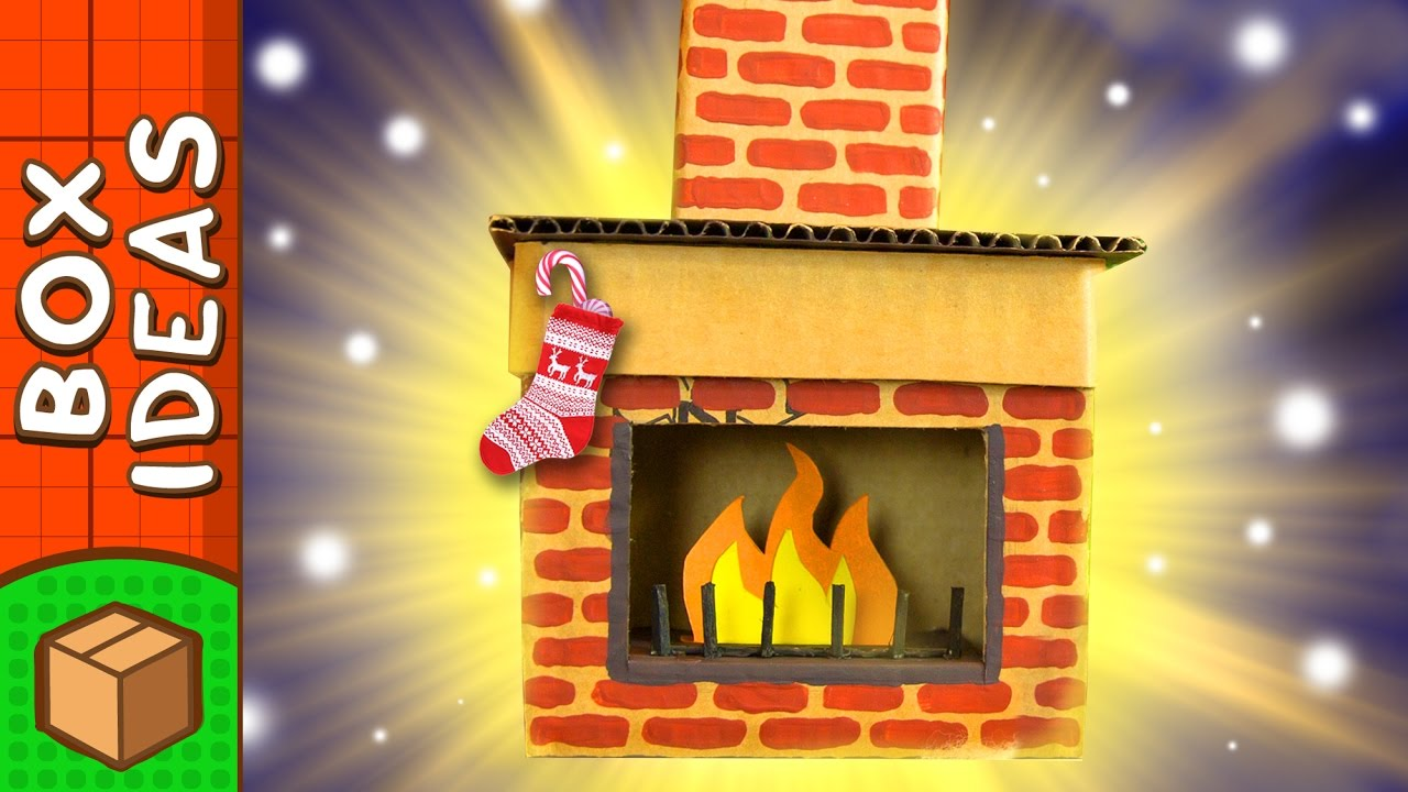 diy cardboard fireplace christmas craft ideas for kids on