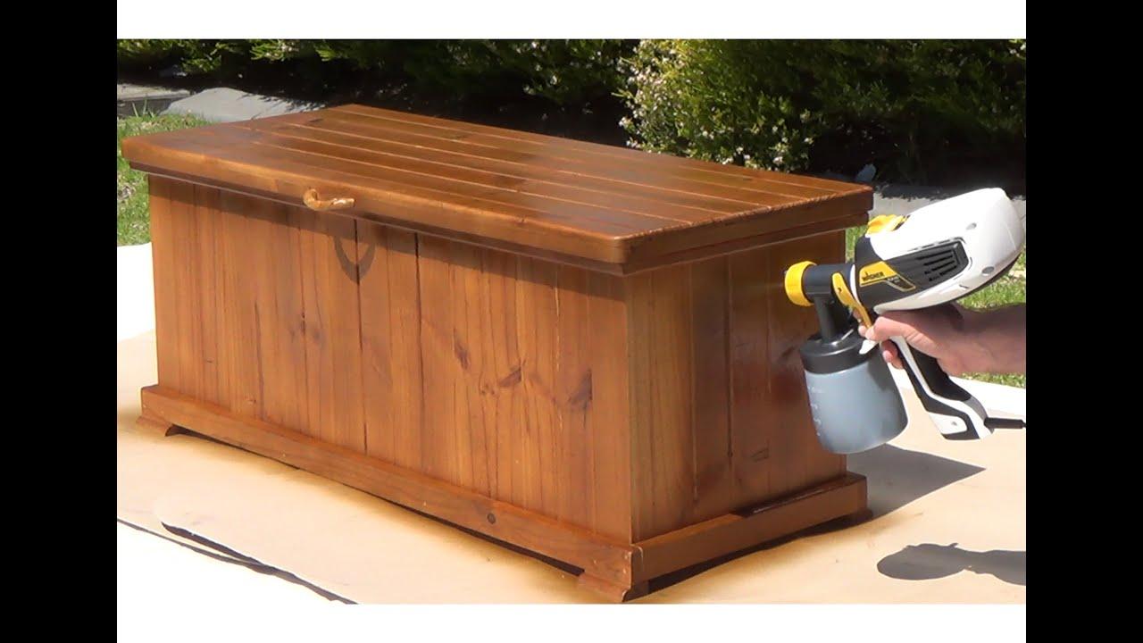 Wagner Flexio 580 Spraying A Wooden Storage Box Coffee