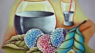 Pintando Hortênsias e Transparência em Tecido