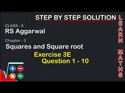 Square And Square Roots  Class 8 Exercise 3E Question 1 - 10  RS Aggarwal Learn Maths