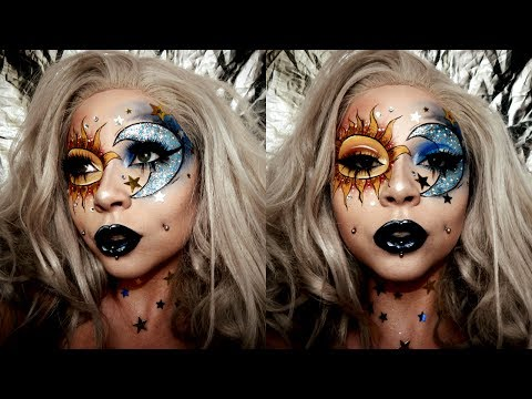 Sun Moon Glitter Face Chart Makeup
