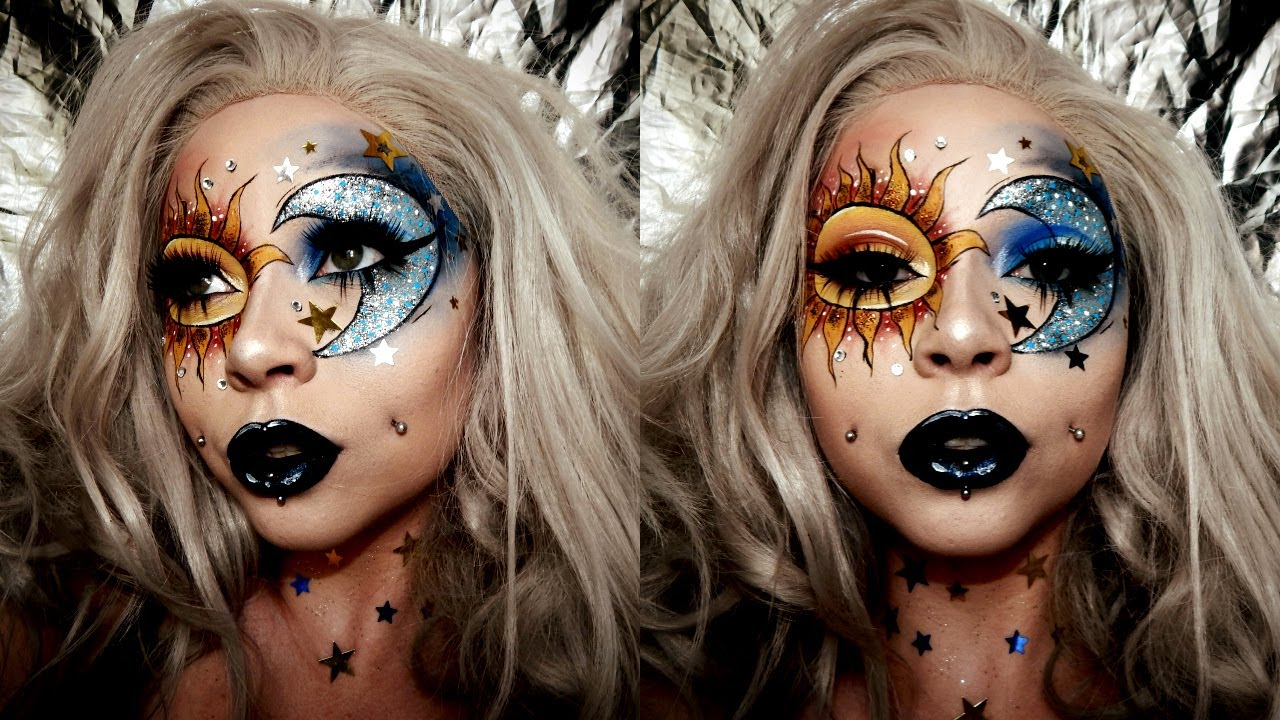 Sun & Moon Glitter Face Chart Makeup | GLAM\INSTAGRAM MAKEUP - YouTube