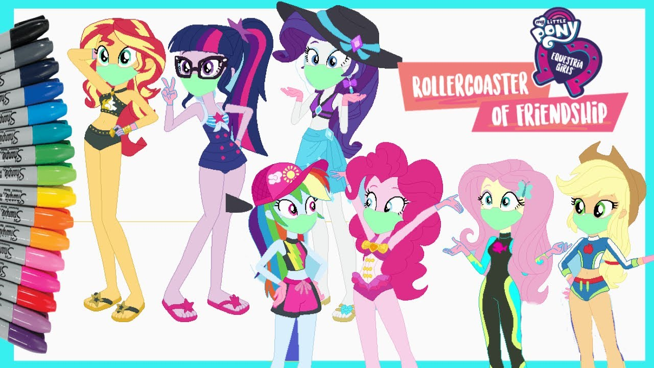 EQUESTRIA GIRLS WEAR MASK COLORING PAGES Wear Your Mask Awareness Covid-19 Wash Hands