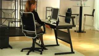 Euro Style Bungie High Back Office Chair + L Desk