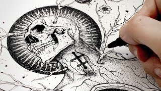 Drawing a Skull and Swords Tattoo | Time Lapse | Inking the design