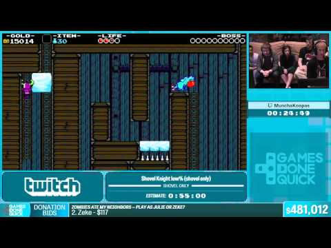 Shovel Knight (shovel only) by MunchaKoopas in 49:36 - Summer Games Done Quick 2015 - Part 108