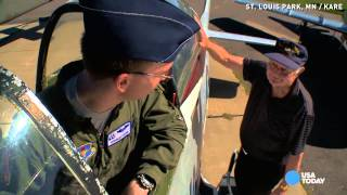 Watch new Air Force pilot take his WWII grandpa flying
