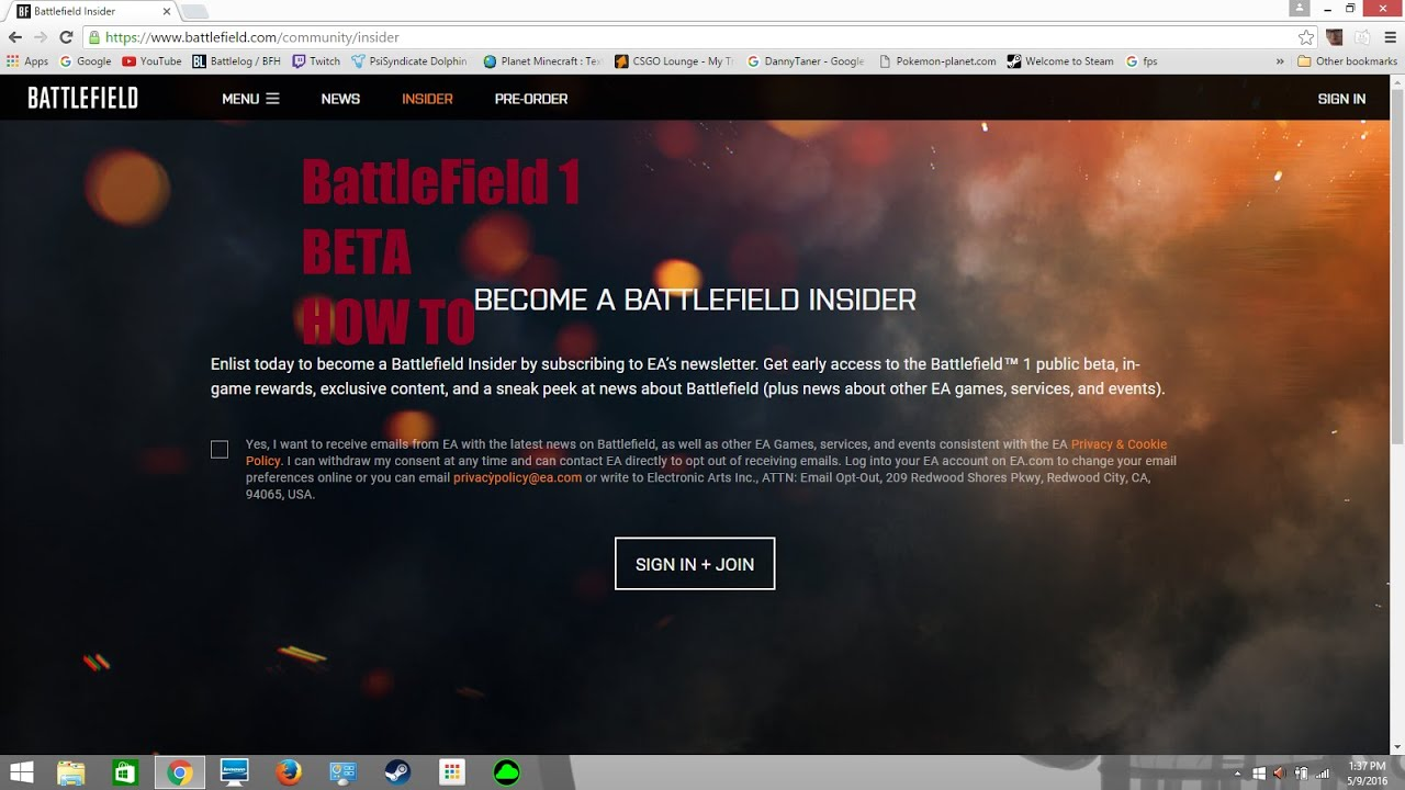 How To Sign Up For The Battle Field 1 Beta