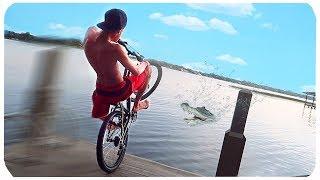 PULEI EMPINANDO DE BIKE DENTRO DO LAGO DE JACARÉS (perdi a bike!)