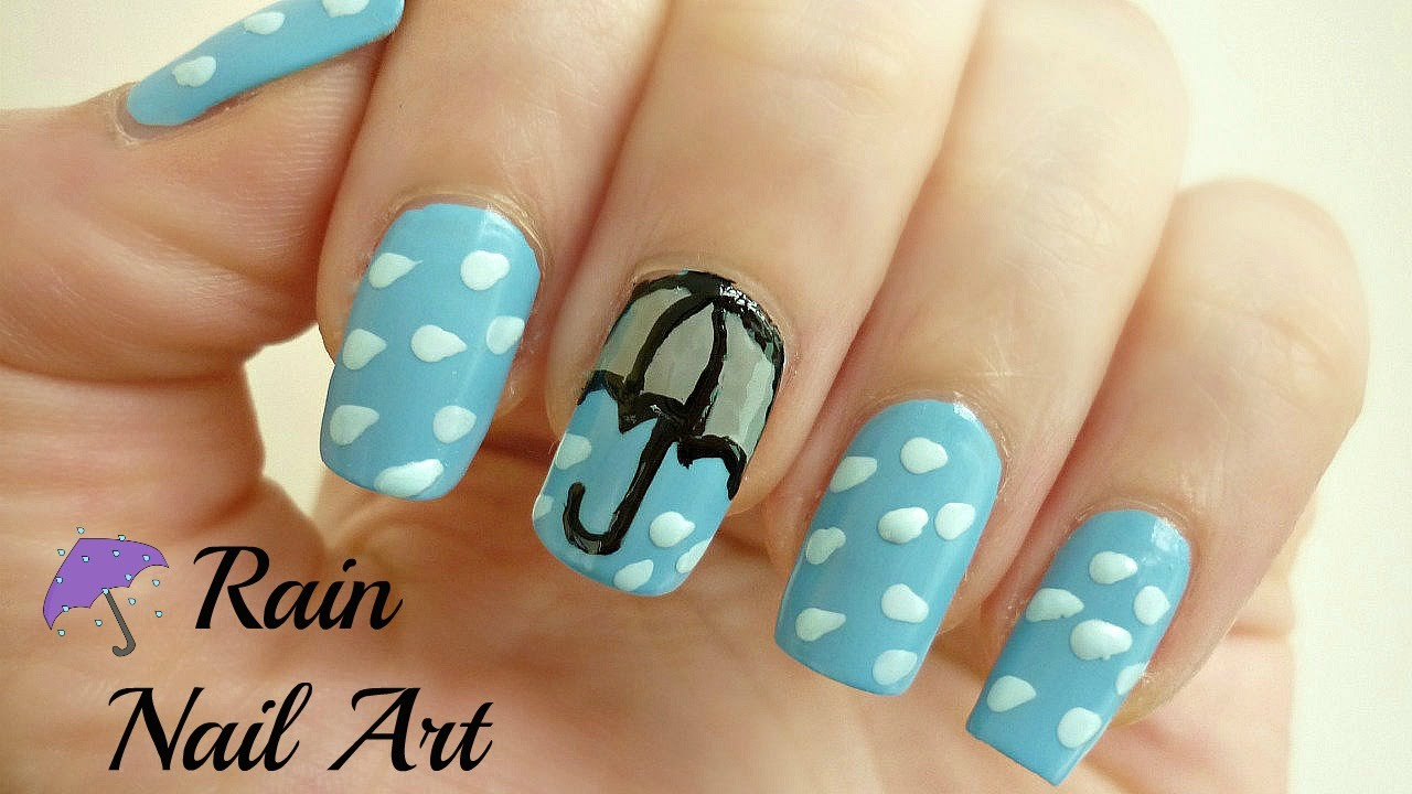 Rain Nail Art! [Umbrella, Raindrops] - YouTube