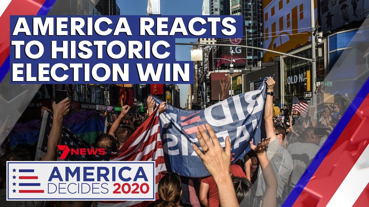 Celebrations erupt over Joe Biden and Kamala Harris' historic election win | 7NEWS