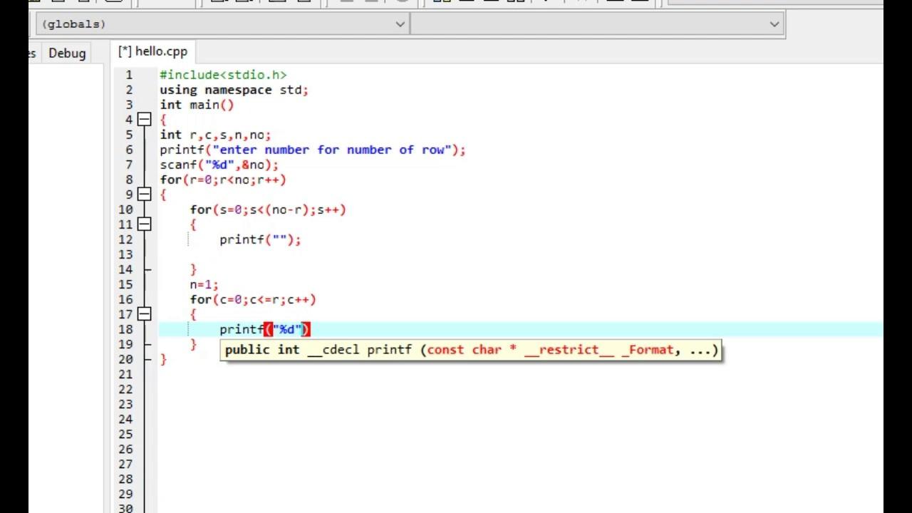 write a c program to create a pascal triangle