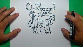 Como dibujar un minotauro paso a paso | How to draw a minotaur