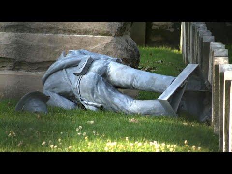Raw: Confederate Statue Vandalized in Columbus