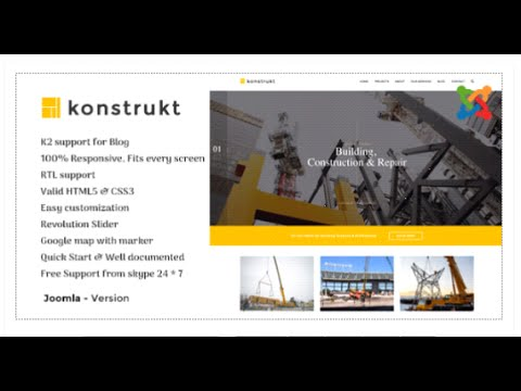 Konstrukt - Construction & Business Joomla Template by Nunforest | ThemeForest Download