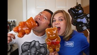 GIANT GUMMY BEAR ON A STICK! (How To Make) // SoCassie