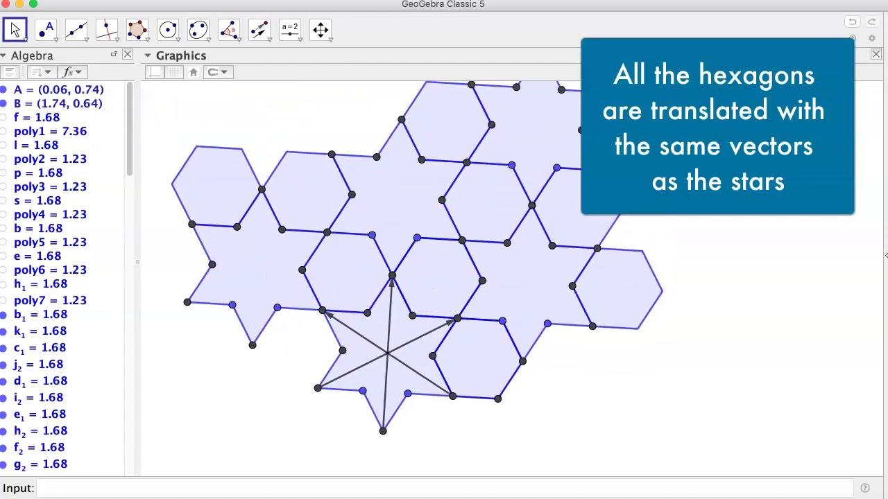 A Design of Stars and Hexagons in GeoGebra
