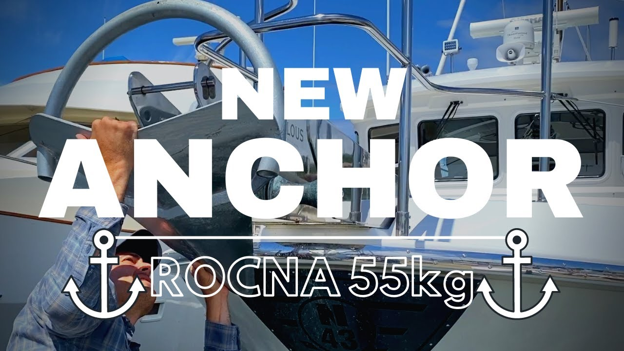NEW Rocna 55kg anchor installation & chain re-painting on our Nordhavn 43 trawler!
