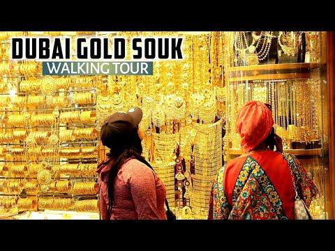 [4K] A Walking Tour of the Dubai Gold Souk 2021