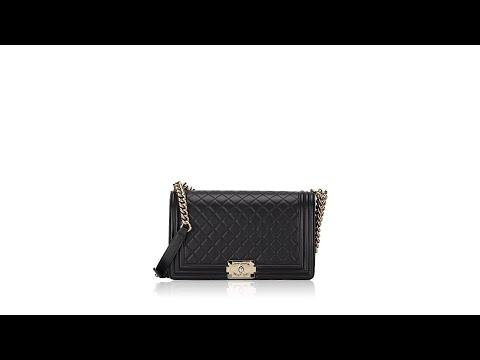 Chanel Lambskin Quilted Boy New Medium Flap Bag Black