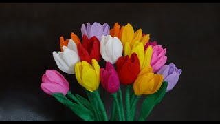 How To Make Beautiful Paper Tulip Flowers / Diy Valentine's Day Craft