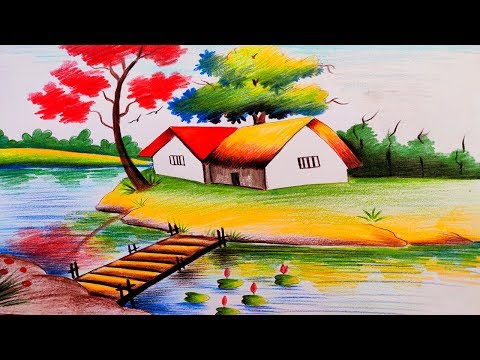 Landscape Scenery Drawing By Color Pencil Color Pencil Drawing For Beginners Youtube