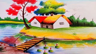 Simple Scenery Drawing With Pencil Colour