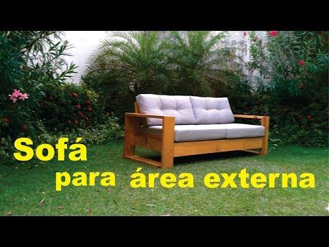Sofá De Madeira Aparente Para área Externa
