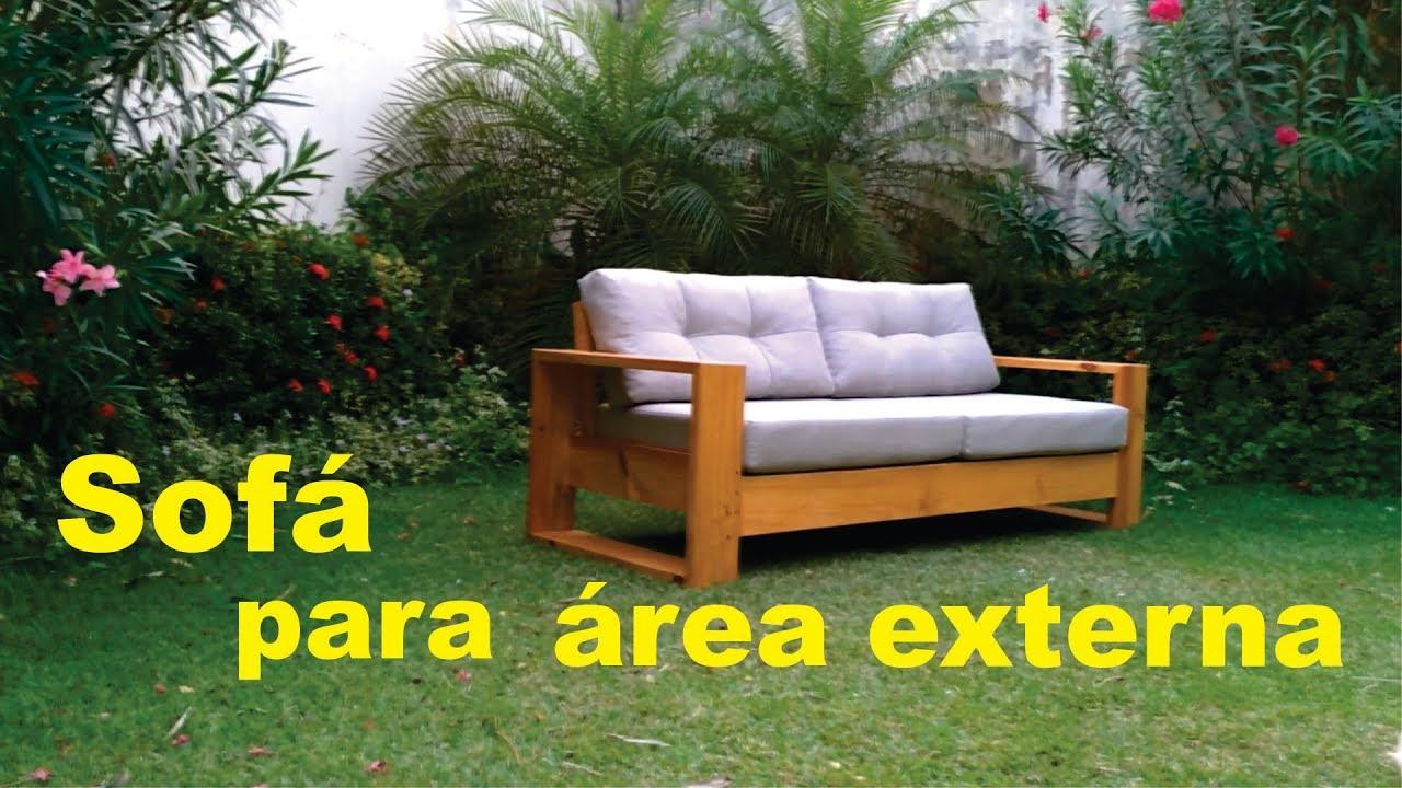 Sofá de madeira aparente para área externa - YouTube