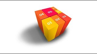 3D cube infographic in powerpoint. 3 point perspective.