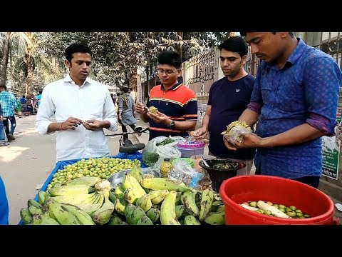 HOW TO? Popular street food Dhaka only Tk 20 Green Banana kacha Kola Vorta Special Tasty Food BD
