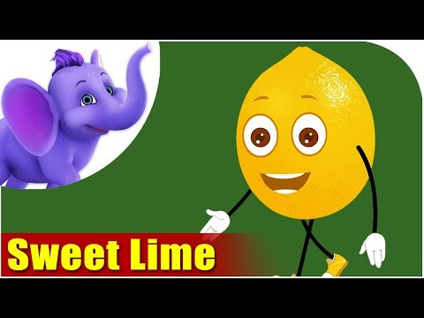 Sweet Lime Fruit Rhyme for Children, Sweet Lime Cartoon Fruits Song for Kids