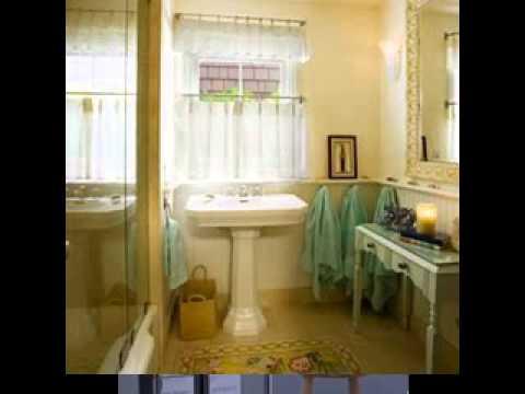 DIY Bathroom window curtain decorating ideas - YouTube