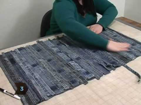 How To Turn Old Jeans Into A Floor Mat Youtube