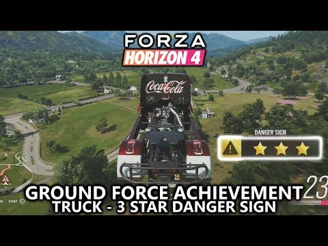Forza Horizon 4 - Ground Force Achievement Guide - Use a Truck to 3 Star a Danger Sign