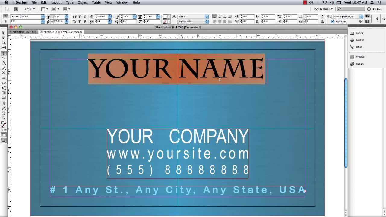 Business Card in InDesign - YouTube