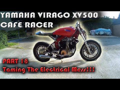 Cambridge Pinstriping,Yamaha Virago XV 500 Cafe Racer Build Part 18 - Taming The Electrical Mess