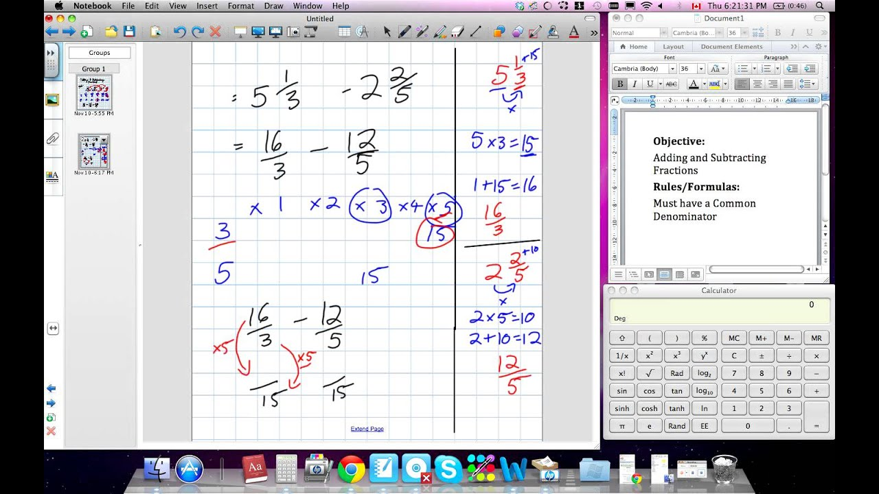 Adding, Subtracting, Multiplying And Dividing Fractions (grade 9  Prerequist Skills)v