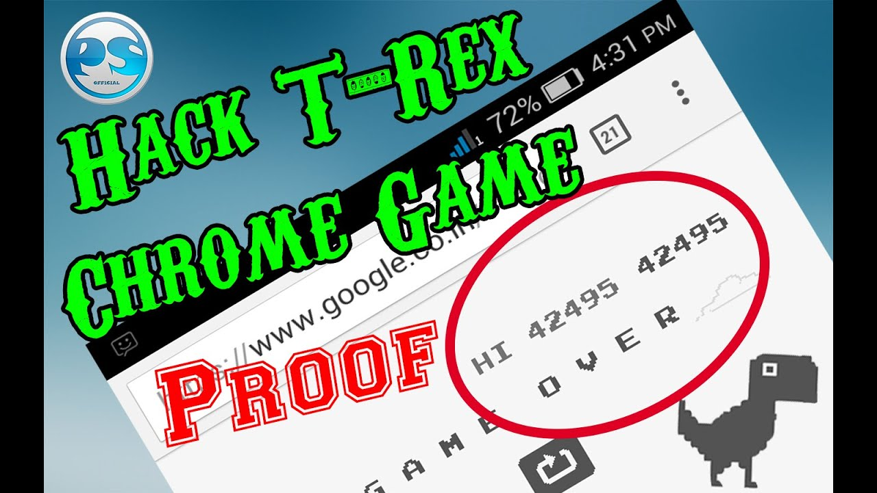 New Method  Hack T-rex Chrome Game On Your Smartphone 2016