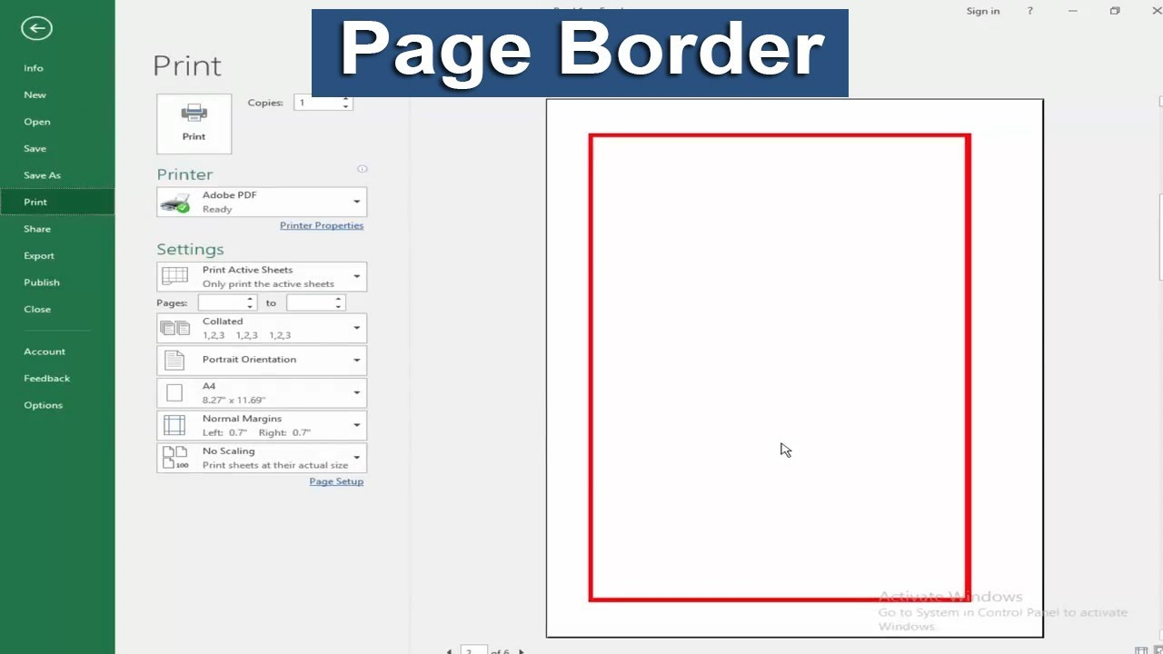 How To Add Page Border In Microsoft Excel 2017