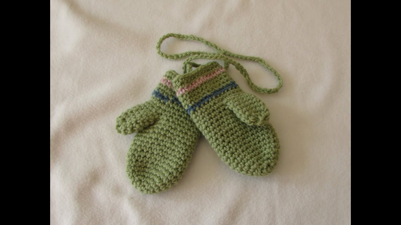 How to crochet EASY children\'s mittens for beginners - YouTube