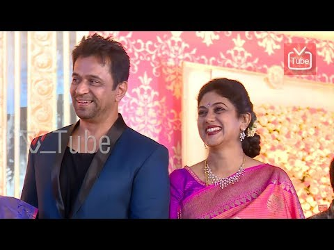 Asha Rani & Arjun Sarja At Meghana Raj & Chiranjeevi Sarja   Wedding Reception   2018